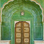 Green Gate In Pitam Niwas Chowk Art Print