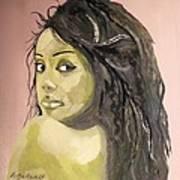 Green Girl  Art Print by Roger Medcalf