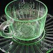 Green Glass Cup And Saucer Art Print
