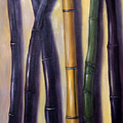 Green Gold And Black Bamboo Art Print