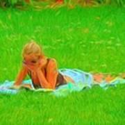 Green Grass Girl Art Print