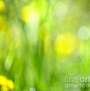 Green Grass With Yellow Flowers Abstract Art Print