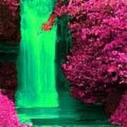 Green Irish Waterfall Surrounded By Pink Art Print