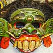 Green Mask Art Print by Gregory Dyer