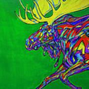 Green Mega Moose Art Print