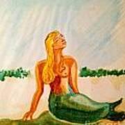 Green Mermaid Art Print