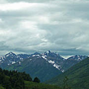 Green Pastures And Mountain Views Art Print
