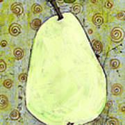 Green Pear Art With Swirls Print by Blenda Studio