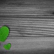 Green Pedal Shaped Hearts Art Print