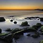 Green Rocks At Sunset Art Print