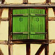 Green Shutters In Colmar France Art Print