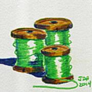 Green Spools Of Thread Art Print