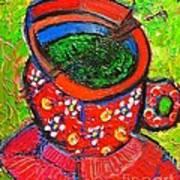 Green Tea In Red Cup Art Print