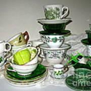 Green Teacups  Art Print