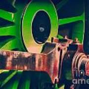 Green Train Wheel Art Print
