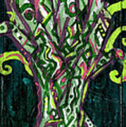 Green Tree With Pink Watercolor Art Print