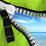Green Zipper Art Print