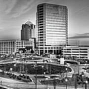 Greensboro Center City Park Bw Art Print