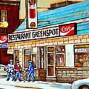 Greenspot Restaurant Notre Dame Street  South West Montreal Paintings Winter Hockey Scenes St. Henri Art Print