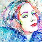Greta Garbo - Colored Pens Portrait Art Print