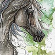 Grey Arabian Horse Watercolor Painting 1 Art Print