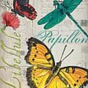 Grey Postcard Butterflies 3 Art Print