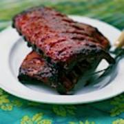 Grilled Ribs On A White Plate Art Print