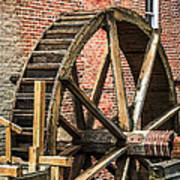 Grist Mill Water Wheel In Hobart Indiana Art Print by Paul Velgos