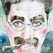 Groucho Marx Watercolor Portrait.1 Art Print