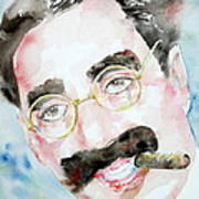 Groucho Marx Watercolor Portrait.2 Art Print by Fabrizio Cassetta
