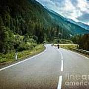 Group Of Bikers On Mountainous Road Art Print