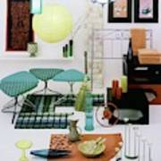 Group Of Furniture And Decorations In 1960 Colors Art Print