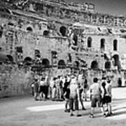 Groups Of Tourists And Guides In The Main Arena Of The Old Roman Colloseum At El Jem Tunisia Art Print