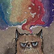 Grumpy Cat And Her Colorful Dreams Art Print