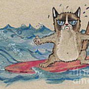 Grumpy Cat Surfing Art Print