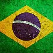 Grunge Brazil Flag Art Print