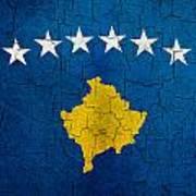 Grunge Kosovo Flag Art Print