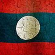 Grunge Laos Flag Art Print
