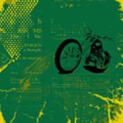 Grunge Motorcycle Background Vector Art Print