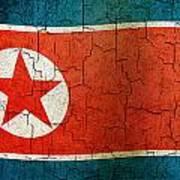 Grunge North Korea Flag Art Print