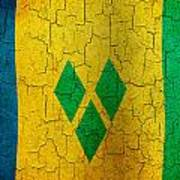 Grunge Saint Vincent And The Grenadines Flag Art Print
