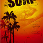 Grunge Surf Poster With Palms And Sunset Art Print