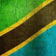 Grunge Tanzania Flag Art Print
