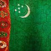 Grunge Turkmenistan Flag Art Print