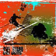 Grunge Winter Background With Skier Art Print