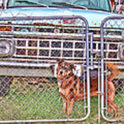 Guarding The Ford Art Print