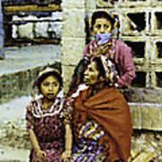 Guatemalan Two Girls With Grandmother Art Print