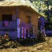 Guatemalan Boy On Wood Pile Art Print