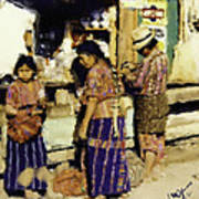 Guatemalan Family Shopping Art Print