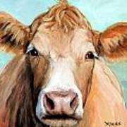 Guernsey Cream Cow On Light Green Art Print